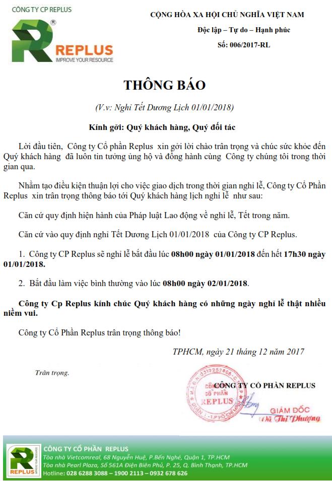Replus thông báo nghỉ Tết Dương Lịch 01/01/2018 1