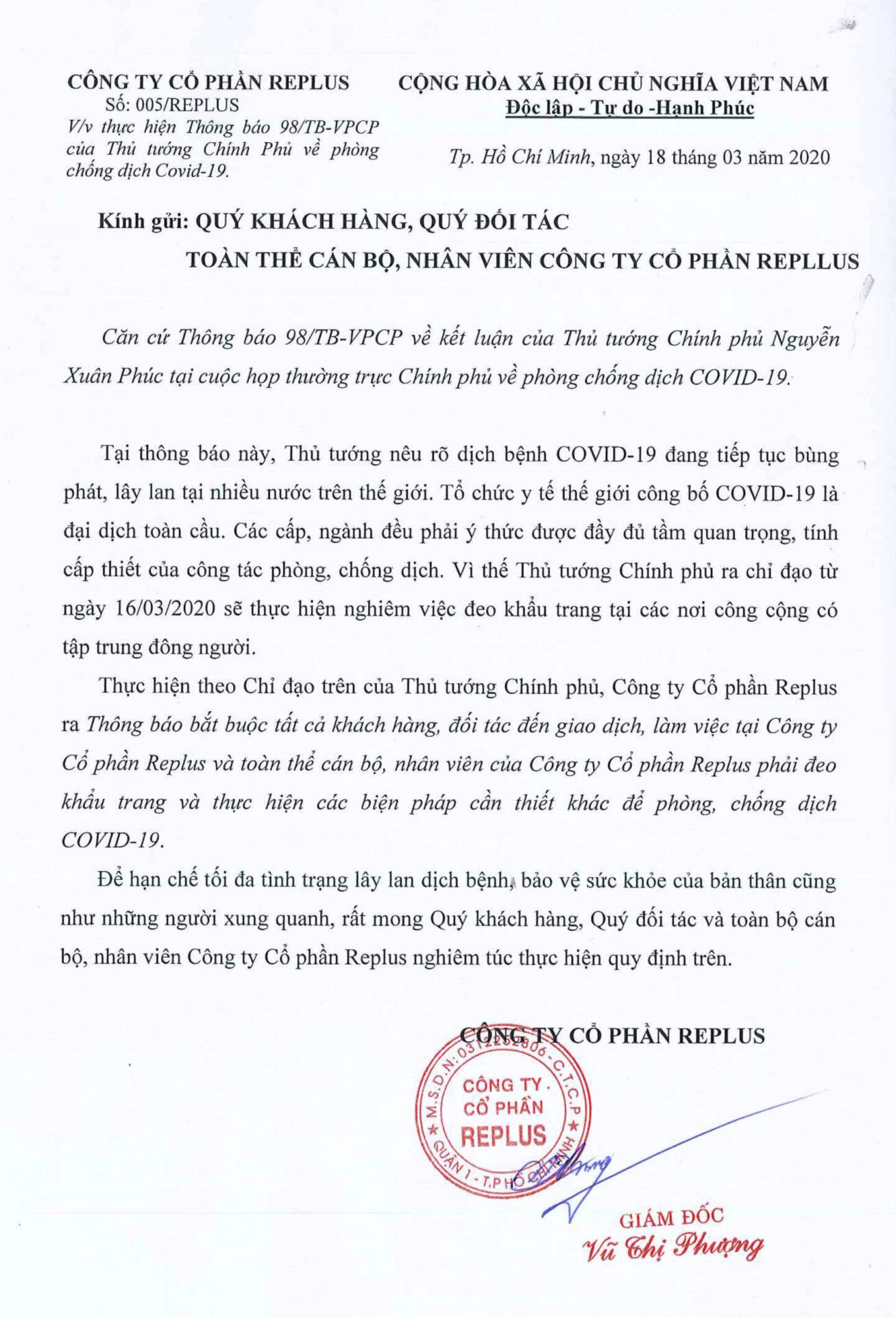REPLUS Thông báo về việc phòng, chống dịch bệnh COVID-19 1