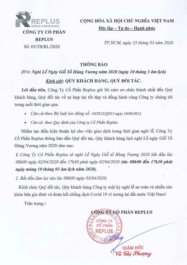 REPLUS Thông báo lịch nghỉ Lễ Giỗ Tổ Hùng Vương năm 2020 1
