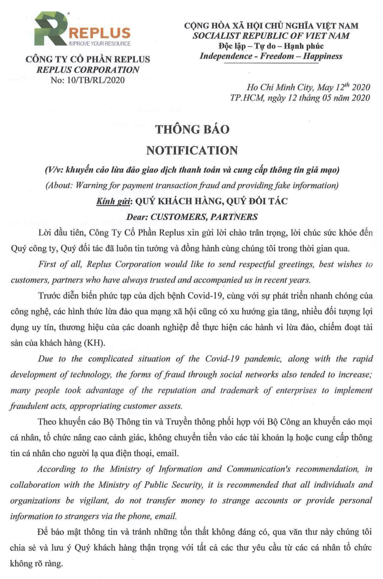 replus thong bao lua dao